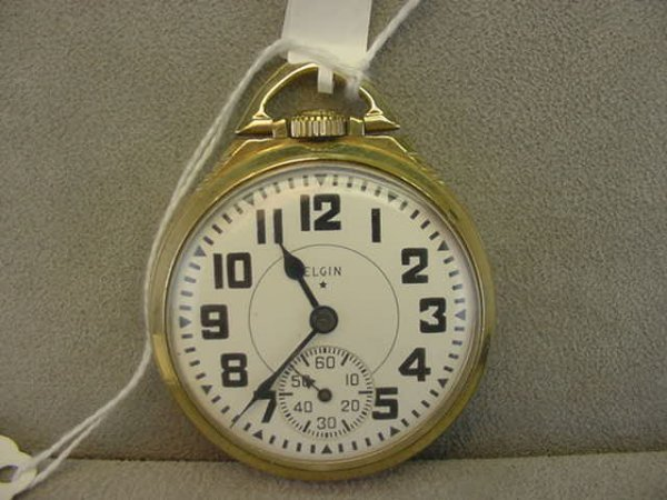 4006: 21 JEWEL B.W. RAYMOND OPENFACE POCKETWATCH IN GOL