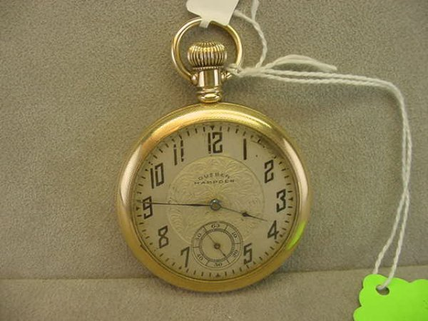 4016: 21J HAMPDEN NO. 105 OPENFACE POCKETWATCH IN GOLDF