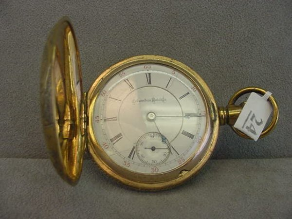 4024: 17J NEW COLUMBUS POCKETWATCH IN ENGRAVED GOLD FIL