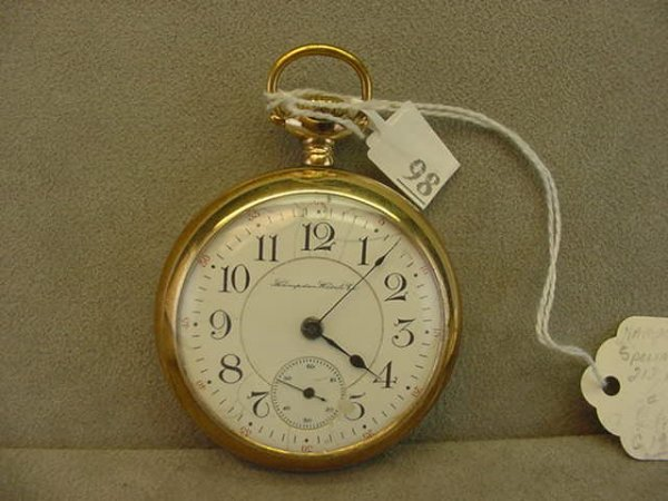 4098: 23J HAMPDEN SPECIAL RAILWAY OPENFACE POCKETWATCH