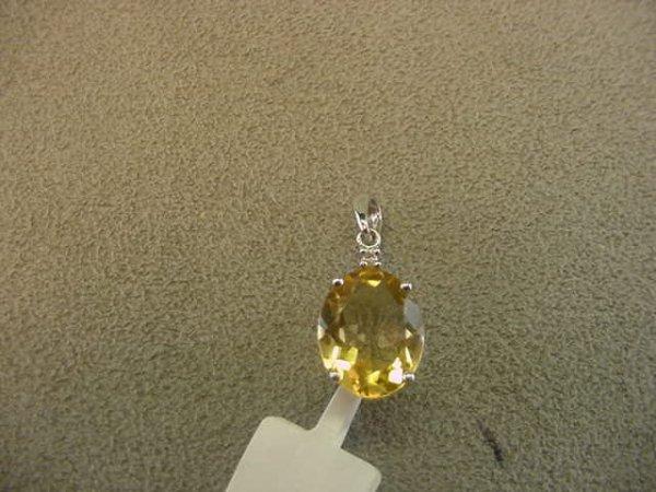 5008: 14K WHITE GOLD CITRINE AND DIAMOND PENDANT