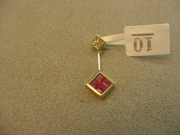5010: 14K GOLD RUBY AND DIAMOND PENDANT