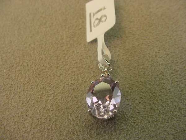 5018: 14K WHITE GOLD AMETHYST AND DIAMOND PENDANT