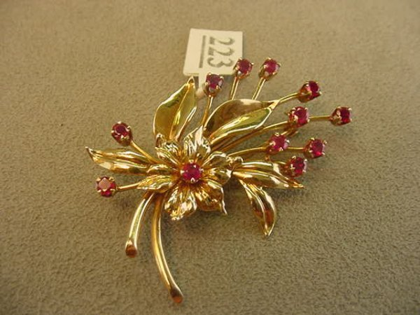 5223: 14K GOLD RUBY BROOCH -TIFFANY & CO.