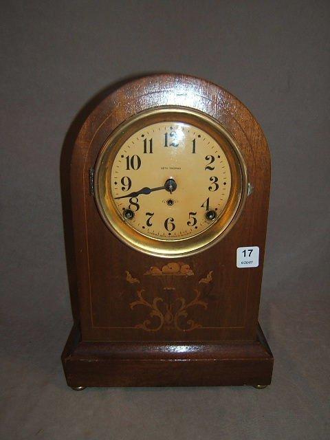 6017: SETH THOMAS INLAID CASE CLOCK WITH PENDULUM