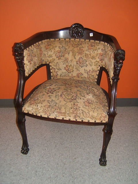 6024: CARVED MAHOGANY LION MOTIF UPHOLSTERED ARM CHAIR