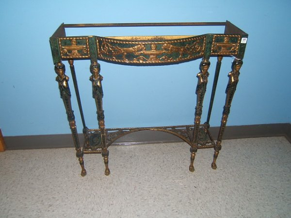 6020: GILT AND PATINATED BRONZE CONSOLE TABLE BASE