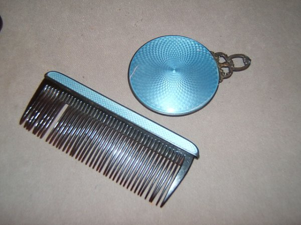 6015: STERLING ENAMELLED COMB AND MIRROR IN CASE