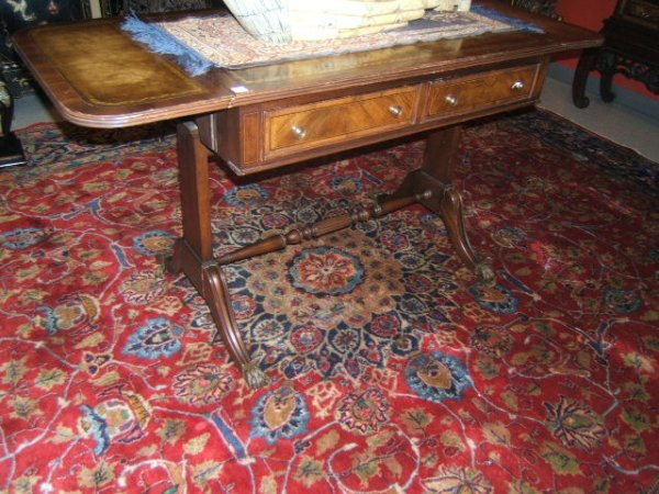 6018: HERITAGE LEATHER TOP DROP LEAF TABLE WITH DRAWERS