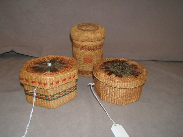 7108: 3 NATIVE AMERICAN COVERED BASKETS