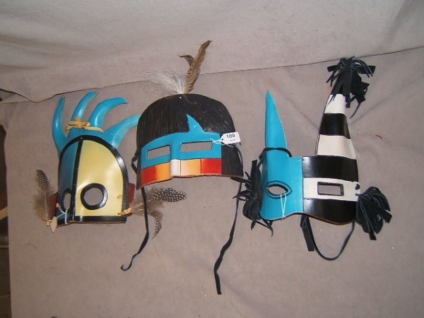 7109: 3 NATIVE AMERICAN LEATHER MASKS, 2 ARE SIGNED