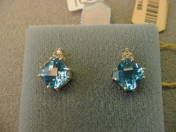 8013: 10K GOLD BLUE TOPAZ AND DIAMOND EARRINGS