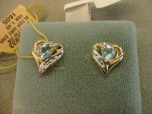 8023: 10K GOLD BLUE TOPAZ AND DIAMOND EARRINGS