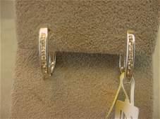 8232: 14K WHITE GOLD DIAMOND HOOP EARRINGS