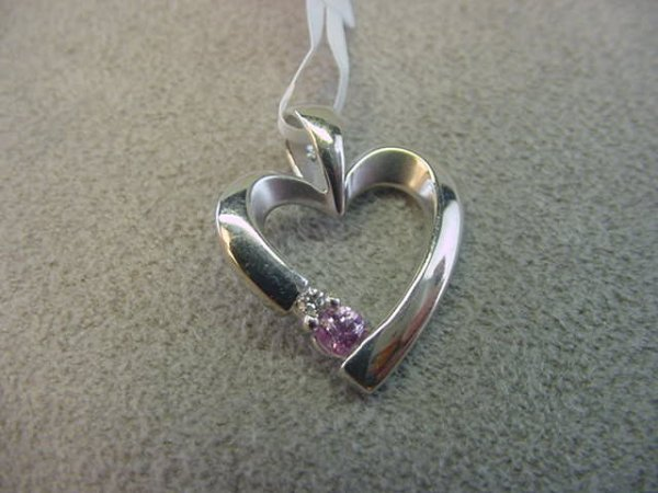 9002: 14K WHITE GOLD SAPPHIRE AND DIAMOND HEART PENDANT