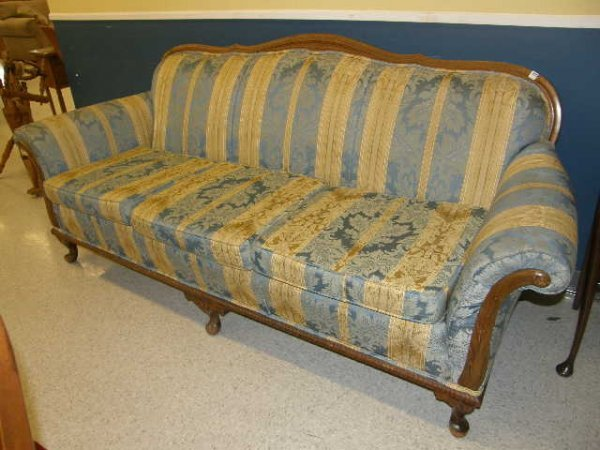 3220: UPHOLSTERED SOFA WITH CARVED FRAME