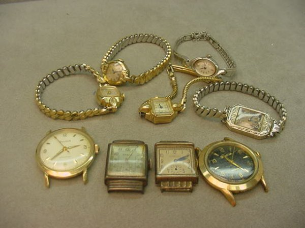 3222: BAG OF ASSORTED WRISTWATCHES, 1 GOLD CASE
