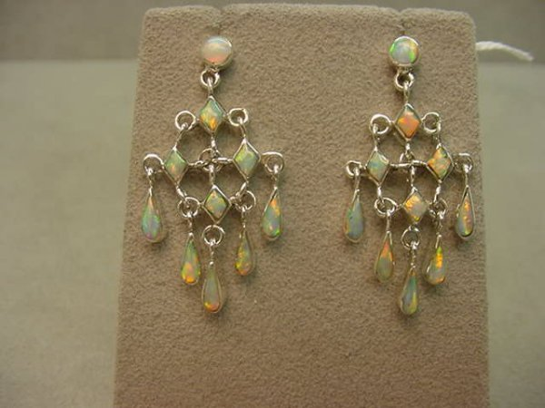 3223: PAIR STERLNG PIERCED EARRINGS SET WITH OPAL