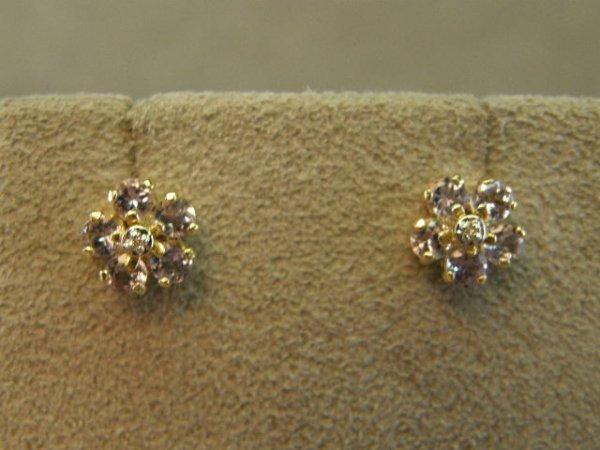 4008: 14K GOLD TANZANITE AND DIAMOND EARRINGS