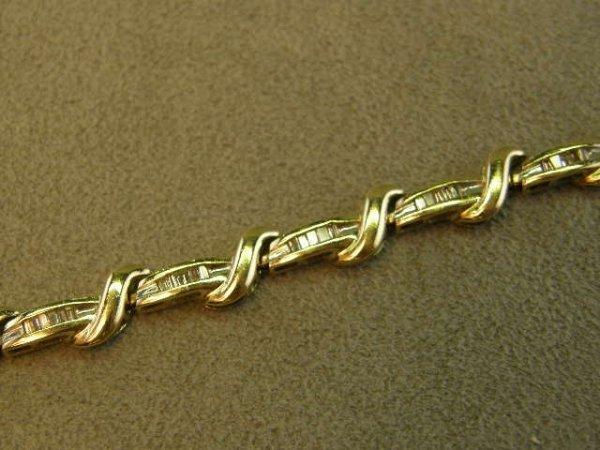 4024: 14K GOLD BAGUETTE DIAMOND BRACELET