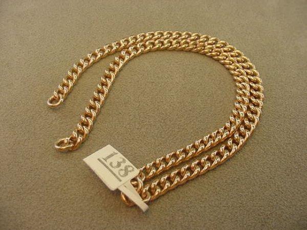 4138: 9K ROSE GOLD DOUBLE CURB LINK BRACELET
