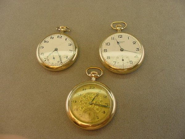 4169: 3 OPENFACE PCKETWATCHES -BEDFORD, ELIDA,