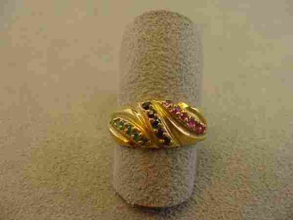 4235: 18K GOLD EMERALD, BLUE SAPPHIRE AND RUBY RING