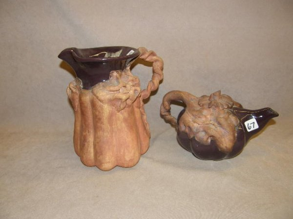 5067: SIGNED AND DATED POTTERY PITCHER AND TEAPOT