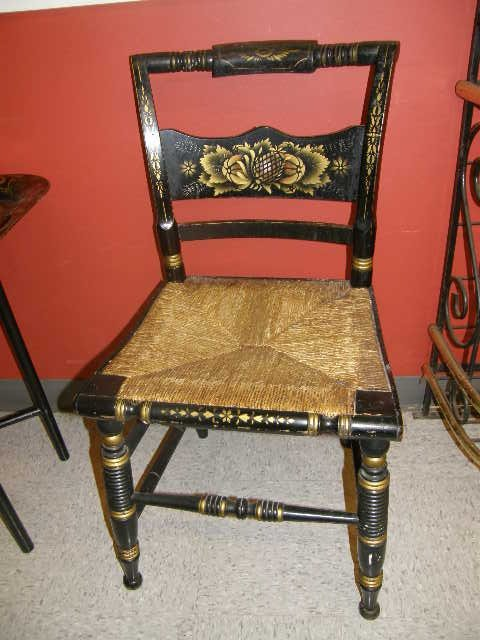 5051: 4 MATCHING STENCIL DECORATED RUSH SEAT CHAIRS