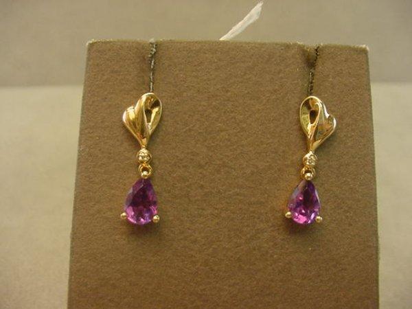 5073: 10K GOLD AMETHYST AND DIAMOND EARRINGS