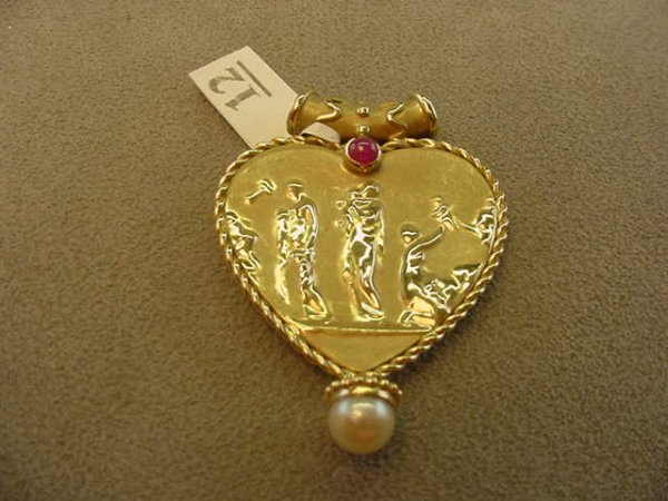 6012: 14K GOLD PEARL AND RUBY SLIDE PENDANT