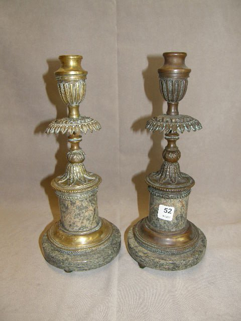 7052: 2 BRONZE AND MARBLE CANDLESTICKS