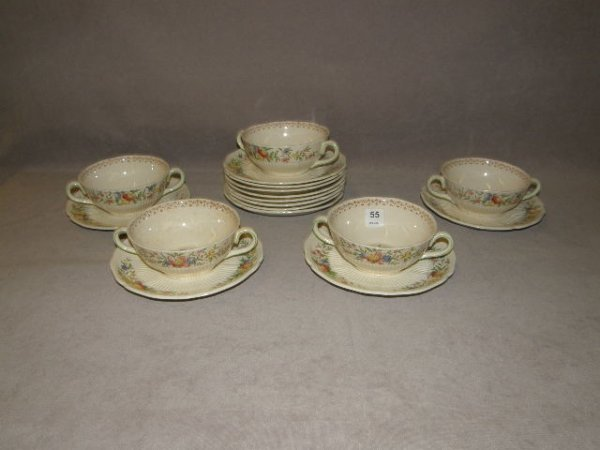 7055: 5 ROYAL DOULTON CUPS AND 12 SAUCERS