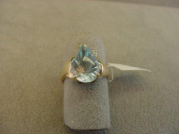 8002: 14K GOLD BLUE TOPAZ AND DIAMOND RING