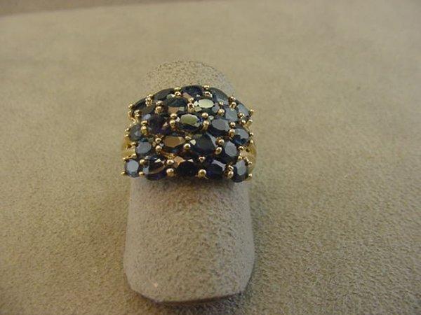 8003: 14K GOLD BLUE TOPAZ AND DIAMOND RING