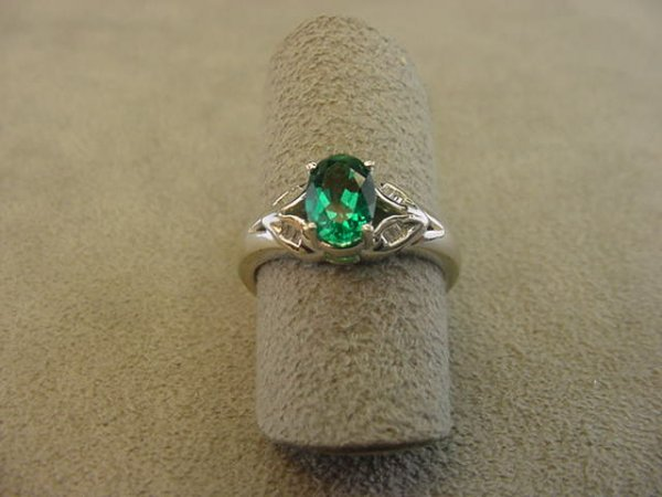 8005: 10K WHITE GOLD CREATED EMERALD AND DIAMOND RING