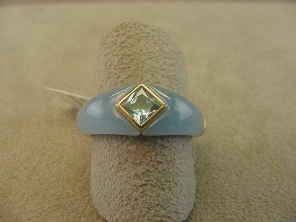 8011: 14K GOLD BLUE TOPAZ AND HARDSTONE RING