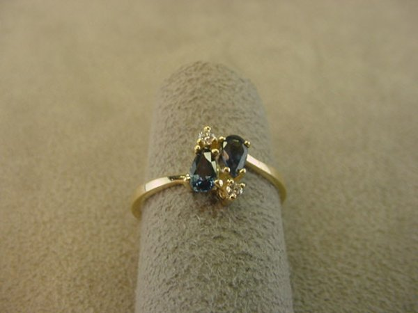 8018: 14K GOLD BLUE SAPPHIRE AND DIAMOND RING