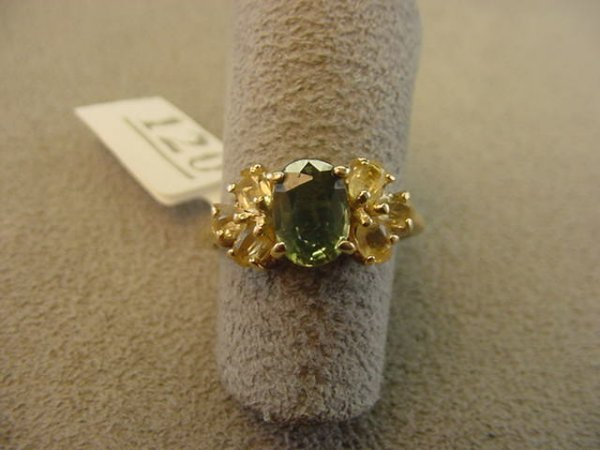 8120: 14K GOLD GREEN AND YELLOW SAPPHIRE RING