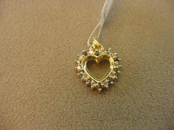 9004: 14K GOLD BLUE SAPPHIRE AND DIAMOND HEART PENDANT