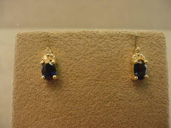 9005: 14K GOLD BLUE SAPPHIRE AND DIAMOND EARRINGS