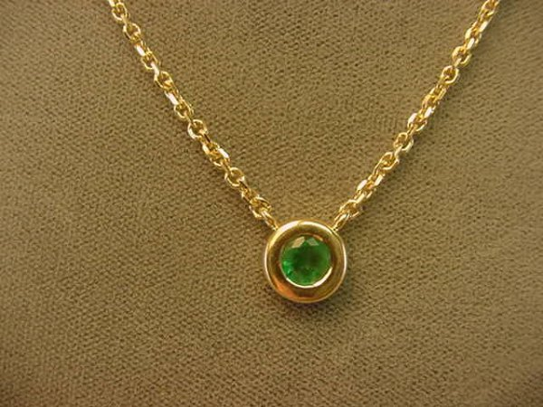 9013: 14K GOLD EMERALD NECKLACE