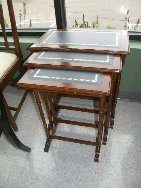 1053: 3 NESTING LEATHER TOP TABLES