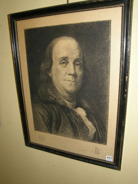 1453: FRAMED PRINT OF AN ETCHING OF BEN FRANKLIN