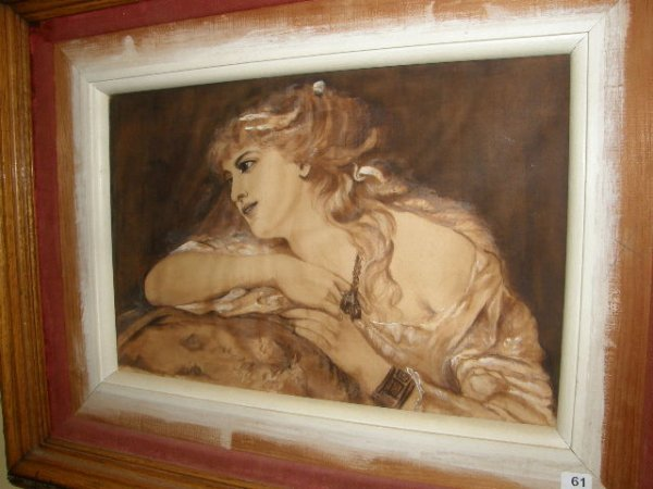 1061: FRAMED PAINTING ON FABRIC