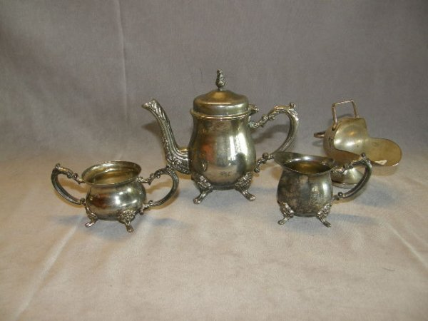 2155: CHILDS 3 PIECE SILVERPLATED TEASET AND SUGAR