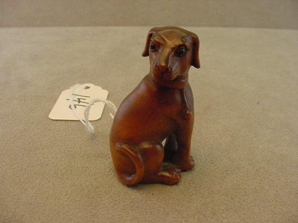 2146: CARVED BOXWOOD DOG NETSUKE