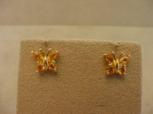 2150: PAIR 10K GOLD BUTTERFLY DESIGN CITRINE EARRINGS