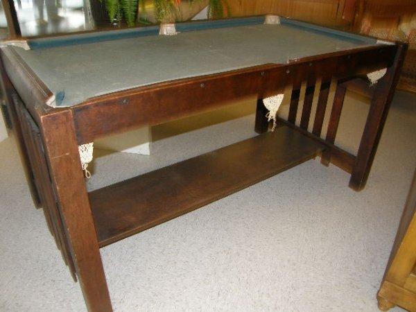 2151: BURROWES MISSION OAK BILLIARD TABLE