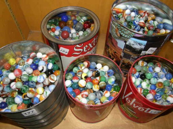 2177: 5 CONTAINERS OF MARBLES